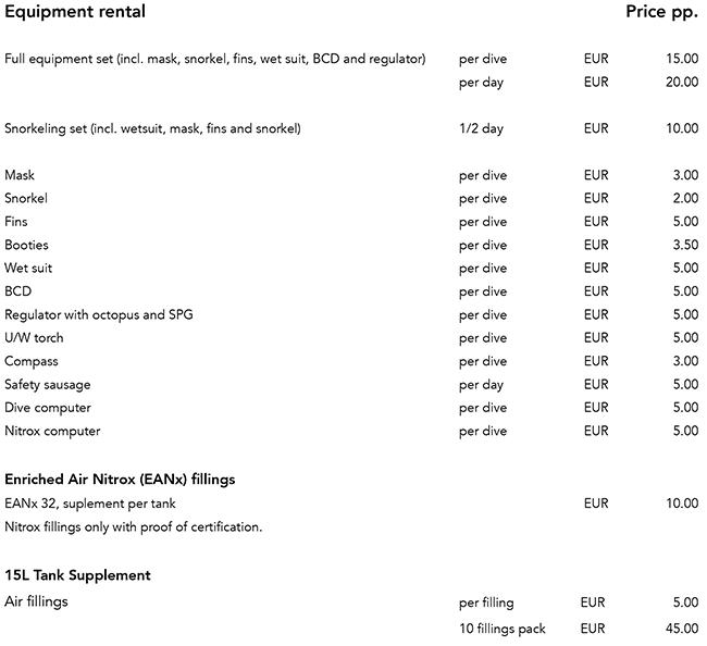 DiveAzores Scuba diving, rental equipment price